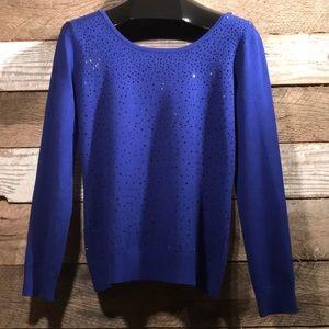 Sweater cobalt blue with black rhinestone